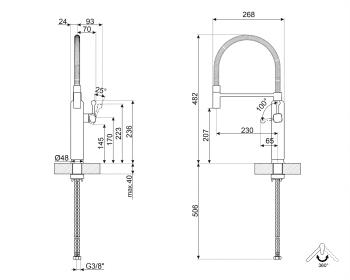 Grifo Smeg MDF50PB Semi-profesional mono mando | 50's Style | Azul - 2
