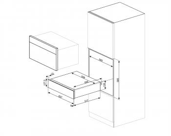 Cajón Calientaplatos Cortina Smeg CPR715P en Crema   15cm   21 Litros - 2