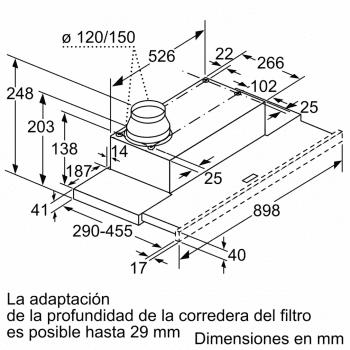 Campana telescópica extraíble Balay 3BT294MX Inox   90cm    383 m³/h   Clase C - 6