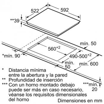 Siemens ET631BK17E Vitrocerámica 60cm | 3 zonas cocción de max.  28cm | iQ300 - 5