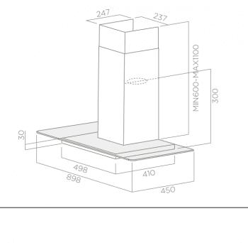 ELICA FLAT GLASS PLUS IX/A/70 CAMPANA INOX CRISTAL 70CM 603M3/H - 3
