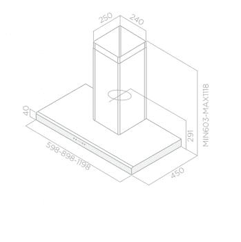 ELICA MOON IX/A/90 CAMPANA INOX 90CM 691M3/H - 3