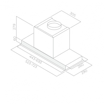 Campana Telescópica ELICA HIDDEN IX/A/60 Inoxidable, de 60 cm a 600 m³/h   Clase A - 4