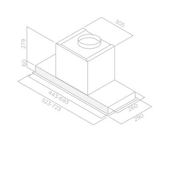 Campana Telescópica ELICA HIDDEN IXGL/A/60 Inoxidable en Cristal Blanco, de 60 cm a 600 m³/h | Clase A - 2