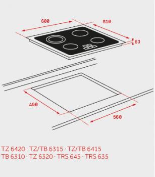 TEKA TB 6415 VITROCERAMICA 4 ZONAS MAX 21CM BISEL FRONTAL - 2