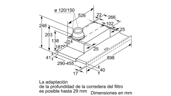 BALAY 3BT849X CAMPANA TELESCOPICA INOX 90CM 400M3/H - 3