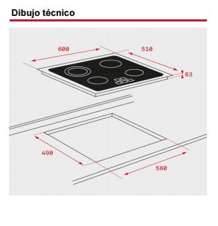 TEKA TZ PRO 6420 VITROCERAMICA 4 ZONAS MAX 21CM BISEL FRONTAL - 2