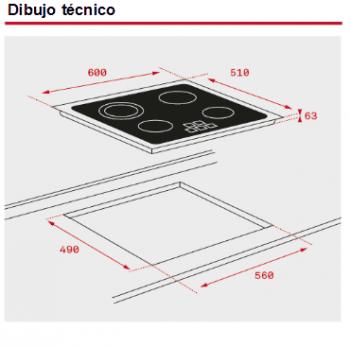 TEKA  TZ PRO 6320 VITROCERAMICA 3 ZONAS MAX 27CM BISEL FRONTAL - 2