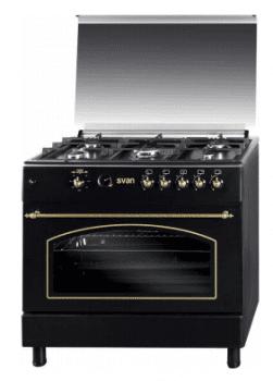 SVAN SVK9561FN Cocina Rústica Gas Butano 90 cm Negra con 5 Fuegos