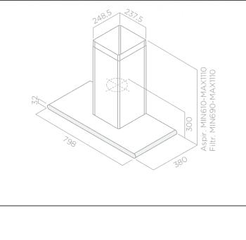 ELICA GALAXY WHIX/A/80 CAMPANA CRISTAL BLANCO INOX 80CM 647M3/H - 3