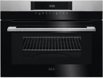 Horno Microondas Compacto AEG KME721000M Inoxidable antihuellas + Cristal Negro | Columna 60cm Altura 45cm | Grill 1900W | Micro 900W | 46 Litros | Touch Control