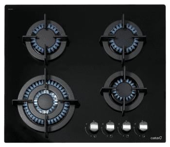 Placa de Gas Cata CCI 6031 BK Cristal Negro | 60cm | 4 Quemadores de Gas | Gas Natural | Encendido electrónico | Válvula de Seguridad - 1