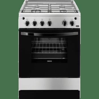Cocina a Gas Zanussi ZCG61281XA Inox de 85 x 60 cm con 4 quemadores gas butano y Horno de Gas con Grill Clase A