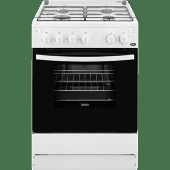 Cocina a Gas Zanussi ZCG61281WA Blanca de 85 x 60 cm con 4 quemadores gas butano y Horno de Gas con Grill Clase A