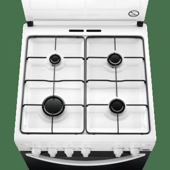 Cocina a Gas Zanussi ZCG61281WA Blanca de 85 x 60 cm con 4 quemadores gas butano y Horno de Gas con Grill Clase A - 3