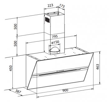 THERMEX VERTICAL AUTOMATIC 900 mm CAMPANA NEGRO MATE 90CM 710M3/H A++ - 4