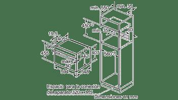 BALAY 3CB5351N0 HORNO CRISTAL NEGRO MULTIFUNCION 45CM ABATIBLE SERIE CRISTAL - 4