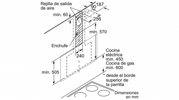 Campana Decorativa Vertical BALAY 3BC497GG   90 cm  Gris Antracita   730 m³/h   Encastrable  Serie Cristal  Stock - 10