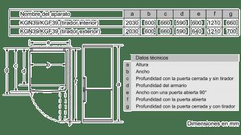 BOSCH KVN39ID3B COMBI MARRON OSCURO NO FROST 203X60CM A++ SKIN CONDENSER - 8