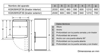 BOSCH KVN39IF3B COMBI AMARILLO NO FROST 203X60CM A++ SKIN CONDENSER - 8