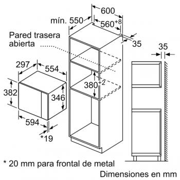 Microondas Bosch BEL523MS0 Integrable Inox 20 l 800 W Grill | Recetas Gourmet | Serie 4 | STOCK - 7