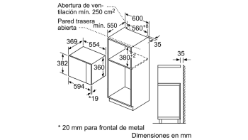 BOSCH BEL554MW0 MICROONDAS CRISTAL BLANCO GRILL 25L STOCK - 4