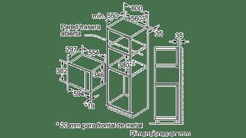 BOSCH BFL520MS0 MICROONDAS INOX CRISTAL NEGRO INOX SIN GRILL 20L - 4