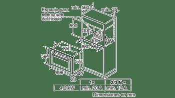 Horno 90cm Multifunción Bosch VBD5780S0 Pirolítico 112L | 10 Funciones | Cristal Negro | A+ - 3