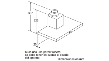 Campana decorativa de pared Bosch DWB97FM50 en Acero inoxidable de 90 cm a 739 m³/h | Clase B | Serie 4 - 7