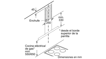 Campana decorativa de pared Bosch DWB97IM50 en Acero inoxidable de 90 cm a 710 m³/h | Clase B | Serie 4 - 9