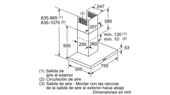 Campana decorativa de pared Bosch DWB77IM50 en Acero inoxidable de 75 cm a 710 m³/h | Clase B | Serie 4 - 9