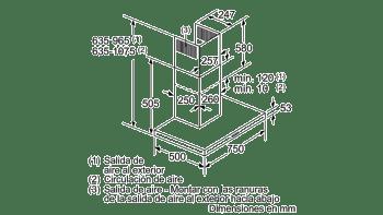 Campana decorativa de pared Bosch DWB76BC50 en Acero inoxidable de 75 cm a 619 m³/h | Clase B | Serie 2 - 9