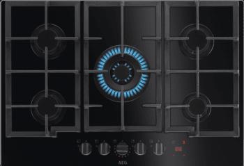 Placa de Gas AEG HKB75451NB 75cm Cristal Negro | 5 Quemadores | Led Nivel Potencia | Conexión Hob2Hood
