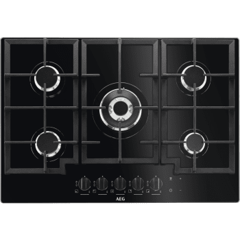 Placa de Gas AEG HKB75540NB Cristal Negro | 75 cm | 5 Quemadores | Conexión Placa-Campana Hob2Hood - 2