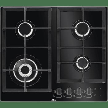 Placa de gas AEG HKB64540NB en Cristal Negro, de 60 cm con 4 Quemadores SpeedBurner, 1 Quemador Wok | Conexión Placa-Campana Hob2Hood