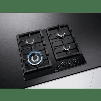 Placa de gas AEG HKB64540NB en Cristal Negro, de 60 cm con 4 Quemadores SpeedBurner, 1 Quemador Wok | Conexión Placa-Campana Hob2Hood - 2