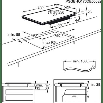 Placa de Inducción AEG IKE84445FB Flexible de 80 cm con 4 zonas Max 32 cm Maxisense PowerBoost Hob2Hood - 5
