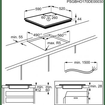 Placa de Inducción AEG IKE63441FB - 3 ZONAS MAXISENSE - █ 60cm ◉28cm - 9