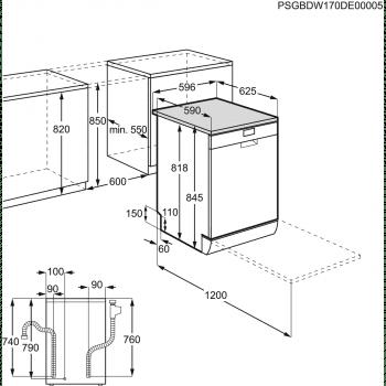 Lavavajillas AEG FFB52601ZW Blanco   AirDry + AutoOff   60cm   13 servicios   47 dB(A)   Blanco   Clase E - 5