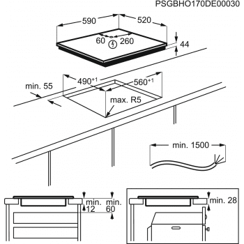 Placa de Inducción AEG IKB63341FB de 60 cm 3 Zonas Max 28 cm Hob2Hood - 5