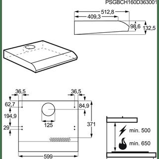 Campana Tradicional AEG DUB1611M INOX 60cm 242M3/H con poder de extracción y motor super fiable - 4