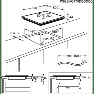 Placa de Inducción Electrolux LIT60336C de 60 cm con 3 zonas Max 28 cm, Sin marco, PowerBoost, Placa-Campana Hob2Hood - 6