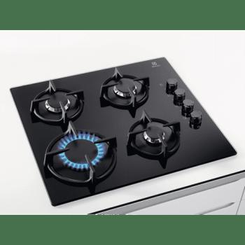 Electrolux KGG6407K Placa de Gas Cristal Negro | 4 Zonas  | 1 Quemador Wok | Encendido Automático - 2