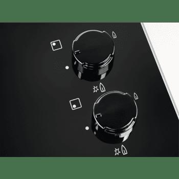 Electrolux KGG6407K Placa de Gas Cristal Negro | 4 Zonas  | 1 Quemador Wok | Encendido Automático - 4