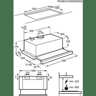 Campana Extraíble Electrolux LFP316S Integrable Inox de 60 cm con 3 niveles de potencia máx 360 m³/h Clase C - 5