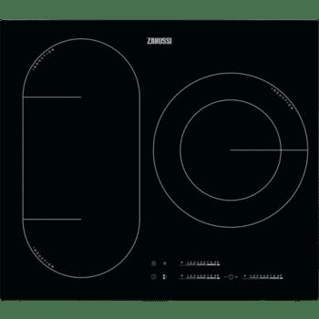 Placa de Inducción Zanussi ZIL6370CB de 60 cm con 3 Zonas Power 1 doble de 28 cm Función Pausa Anclaje Easy-fix sin marco