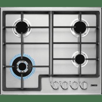 Placa de Gas Zanussi ZGH66424XS Inox de 60 cm con 4 Quemadores (1 Wok) Termopar Parrillas de hierro fundido
