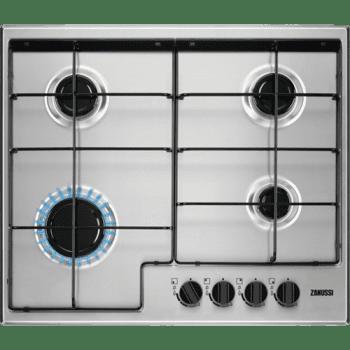 Placa de Gas Zanussi ZGH65414XA Inox de 60 cm con 4 Quemadores Termopar Parrillas Esmaltadas