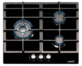 Placa de Gas Cata LCIB 6021 BK Cristal Negro   60cm   3 Quemadores de Gas   Gas Butano   Encendido electrónico   Válvula de Seguridad - 1