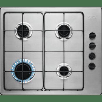 Placa de Gas Zanussi ZGH62417XA Inox de 60 cm con 4 Quemadores Termopar Parrillas Esmaltadas